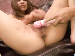 Sweet and hot Japanese babe erects fucker's cock with footjob