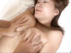 Naughty chick rubs fucker's dick on her boob and then tightly sucks it