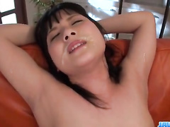 Three fuckers are hotly drilling chick's pussy with three vibrators