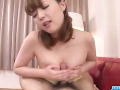 Dude lies down nude and pleasures hot blowjob from young Asian chick
