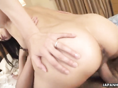 Cock-loving Asian chick swallows a hard sausage