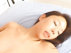 Cute young brunette Asian chick is pleasuring passionate fuck