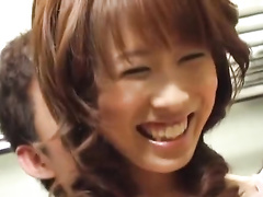 Cute young Japanese babe is excitingly kissing with boyfriend before hotly fucking