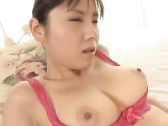 Young Asian chick with hot boobies excitingly fondles her fucker