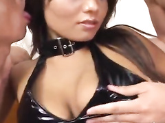 Japanese babe in exciting sexy latex lingerie fucks hard