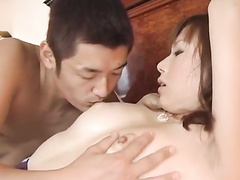 Handsome guy enjoys fondling and exciting hot Japanese chick