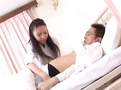 Beautiful Japanese nurse treat the patient with smooth blowjob