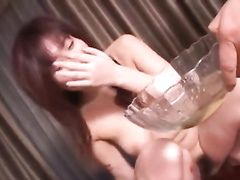 Japanese bald dude undresses and fondles hot girlfriend