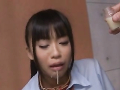 Beauty Asian with dog collar gets fed and blowjobs dick