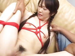 Cute young Japanese chick is getting tight pussy drilled with vibrator sex toy