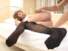 Young oriental chick in black stockings enjoys exciting hardcore fuck