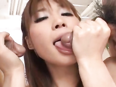 Young redhead Japanese chick is having boobies and pussy fondled
