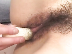 Brown haired beauty is having pussy fondled with tied eyes