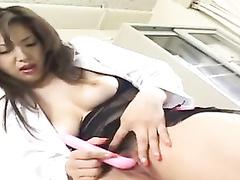 Attractive sexy Japanese babe hotly masturbates at work