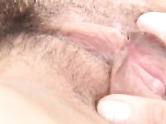 Japanese babe with small boobies pleasures hot threesome fuck