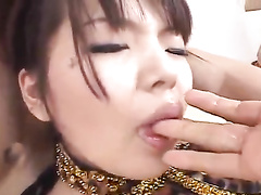 Two hungry Japanese guys are enjoying fuck with one beauty chick