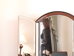 Young Asian beauty hotly poses and masturbates at the office