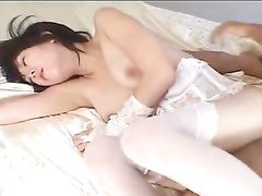 Young Japanese slut excitingly licks boyfriend's asshole