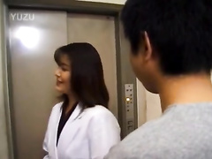 Slutty Asian chick covets to handsome guy and fucks him in elevator