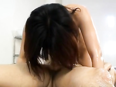 Oriental fucker excitingly fondles hot boobs and fingers hairy pussy