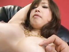Precious oriental babe hotly sucks fucker's fingers