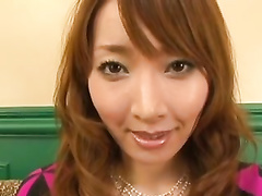 Lustful brown haired Japanese chick undresses and excites her fucker