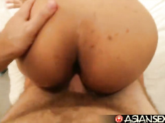 Busty Philippine chick with bubble butt passionately fucks in many poses with white dude