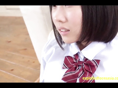Japanese teen chick Rin Aoki is sucking dickhead before experiencing rough fuck