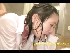 Japanese skinny chick got fucked hard in mouth and hairy pussy at once