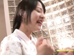 Beautiful Asian girl sucks out cumload from hairy Japanese cock