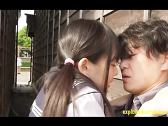 Japanese schoolgirl Abe Mikako enjoys fucking outdoors on the back of pickup