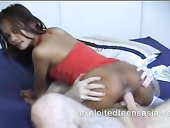 Exciting skinny young Philippine chick Leah enjoys hardcore fuck with white cock