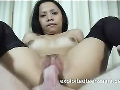 Student girl from Manila Lucy enjoys reverse cowgirl position hardcore fuck