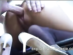 Steaming hot and amazingly sexy shaped Asian girl Joan enjoys fucking white dick
