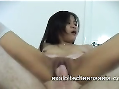 Asian girl Beverly wearing white nylon knee socks is loving rough fuck in reverse cowgirl pose