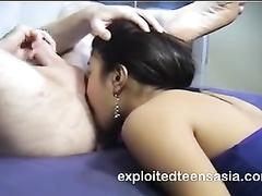 Wonderful young Philippine girl Jennifer blowjobs big white dick