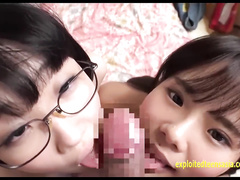 Cute and sexy Japanese teen Rin is sharing one hairy dick with girlfriend