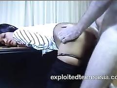 Slender skinny Philippine girl Sally got fucked bent over on the desk
