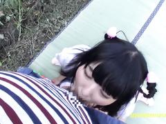Japanese beauty girl Azuka does tight deepthroat blowjob and fucks outdoors